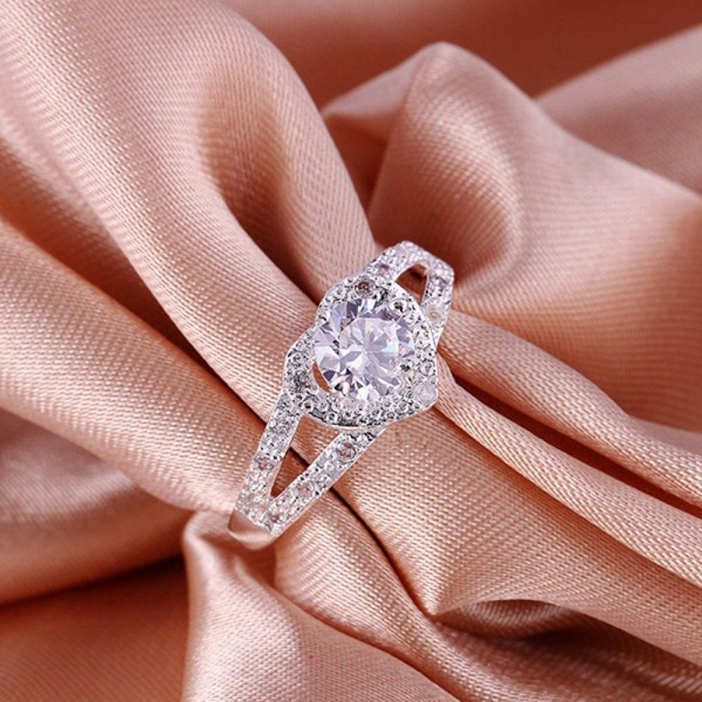 Wedding Women\'s Silver Plated Jewelry Heart Ring Crystal-buy at a ...