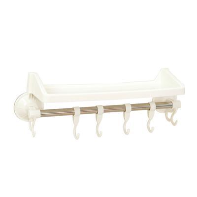 Baño cocina ventosa soporte almacenamiento Rack toalla estante de la pared  con ganchos (blanco) de82464b7156