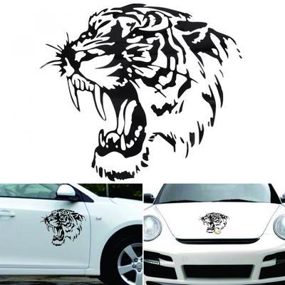 28CM Black Tiger Head Totem Car Body Bumper Home Wall Vinyl Decal Sticker Decor
