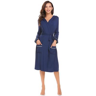 a05a4383801 Женщины мягкий с капюшоном халата длинные открытые стойки Халат пижамы с  поясом