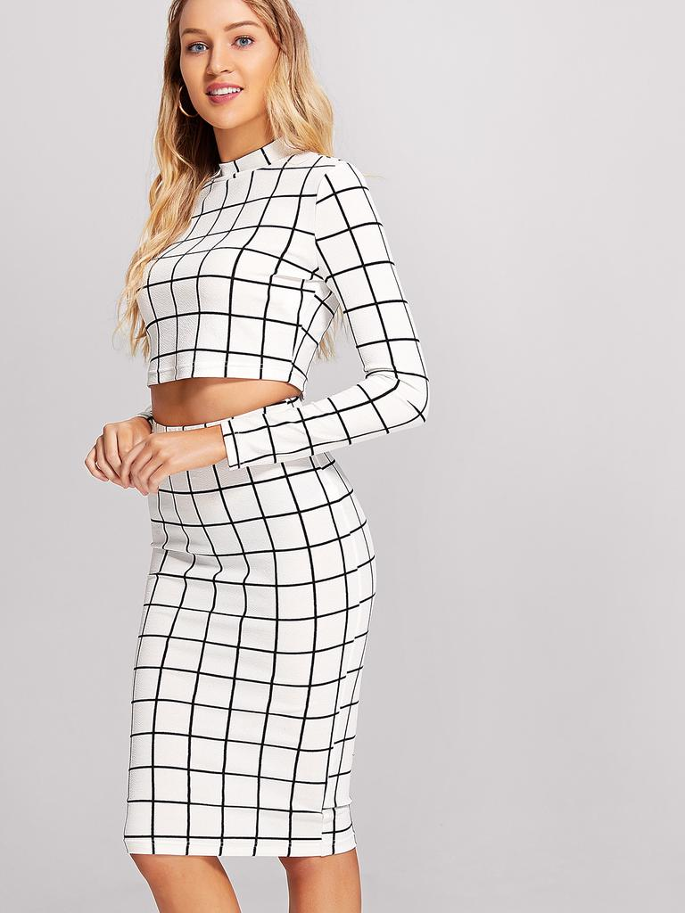 d6f3fcbb57561 SHEIN Crop Grid Top & Pencil Skirt Co-Ord-buy at a low prices on ...
