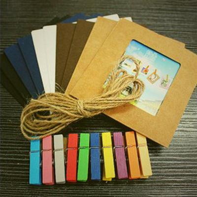 10pcs/lot 3Inch DIY Wall Hanging Retro Kraft Paper Photo Frame For Pictures with Long