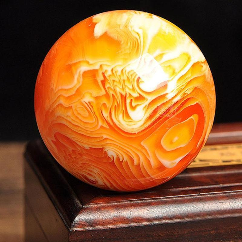 Rare Beeswax Ball Natural Art Amber Crystal Sphere Gold Healing 50mm Home Decor