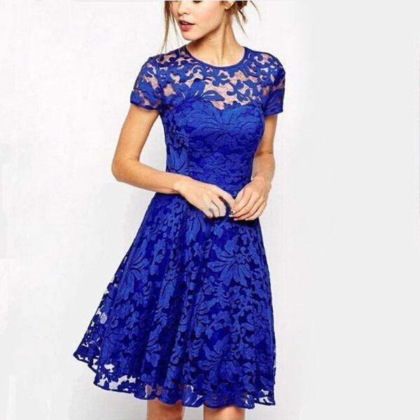 气质时尚圆领短袖蕾丝连衣裙