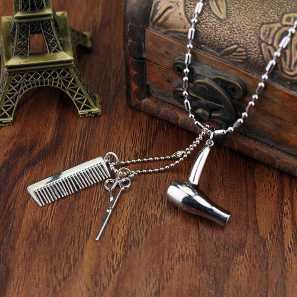 Scissors Comb on 45cm Cord Chain Necklace Pendant Stylist Barber Hairdresser UK