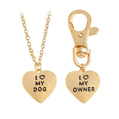 I Love My Dog I Love My Owner Heart Charm Necklace and Collar Dog-Hu