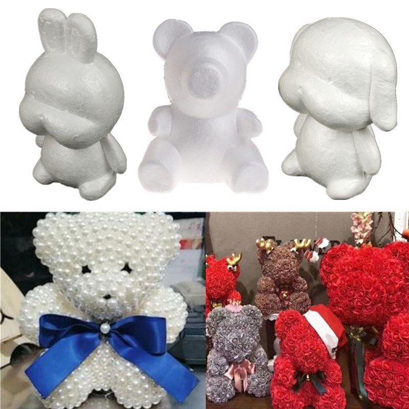 Handmade Polystyrene Styrofoam Foam Bear Dog Rabbit Modelling DIY Festival Gift