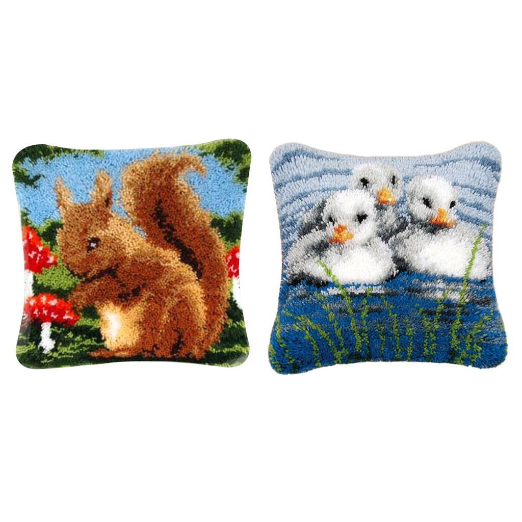 2pcs Wolf Dog Carpet Latch Hook Rug Kit for Adults Kids Embroidery 50x30cm