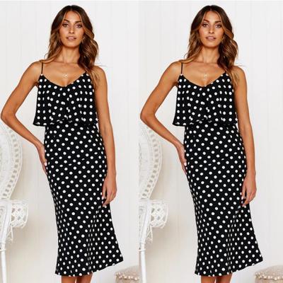 f6d10be53c0 Летнее платье женщин элегантный горошек спагетти ремень длинные платья