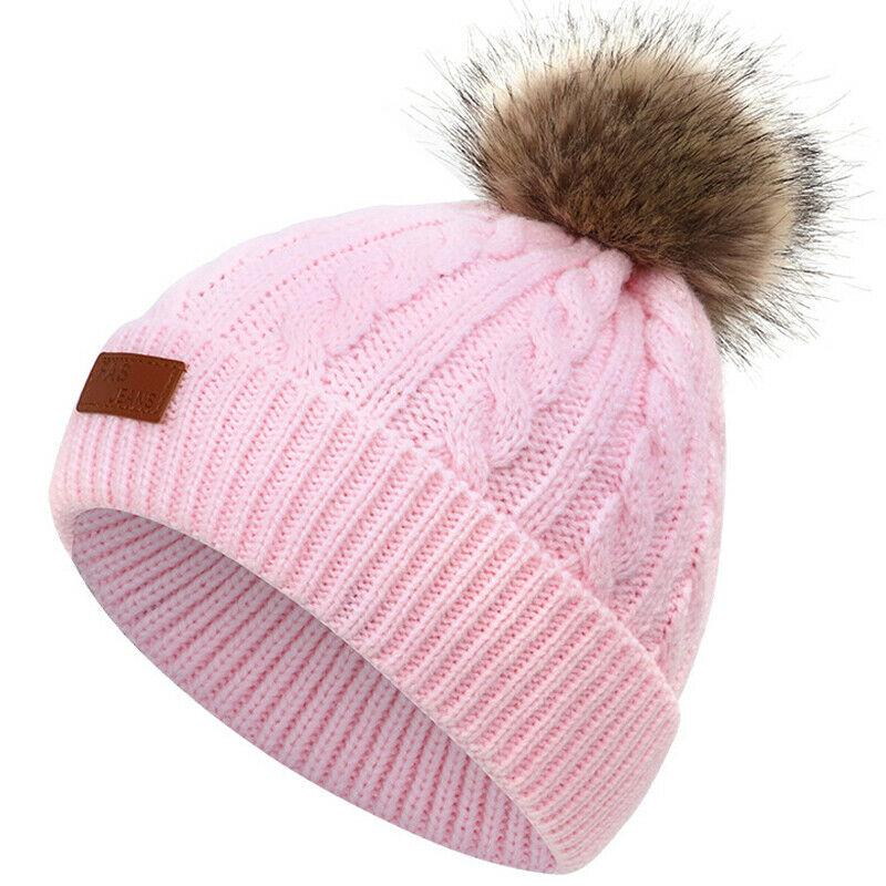 warm and comfortable blue pink. Baby infants winter wool hat w//pom pom
