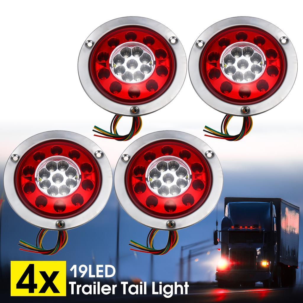 "2x 4.3/"" LED Truck Trailer Turn Signal Brake Stop Tail Light Stainless Steel Ring"