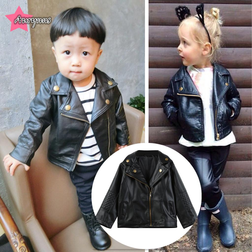 Winter Toddler Kids Boys Faux Leather Jacket Warm Outwear Motorcycle Coat Gifts
