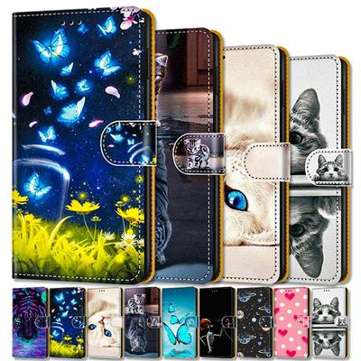 Flip Leather Case For Xiaomi Redmi Note 9 8 10 Pro Max 7  8T 9C 8A 10S 9i Poco X3 NFC F3 M3 F2 K40 Pro Wallet Card Holder Stand Book Cover Cat Painted