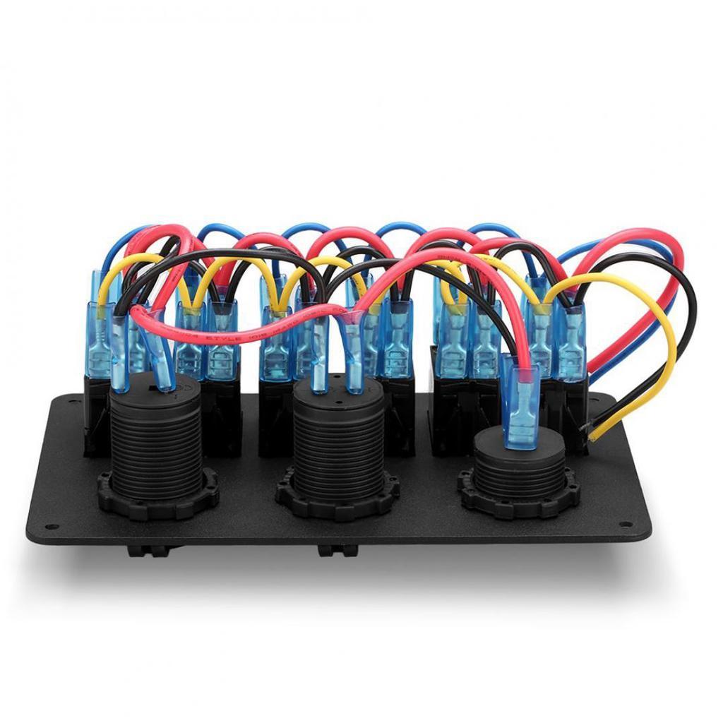 12V/24V Boot Marine Rocker Switch Panel 2 USB-Ladegerät Zigarette ...