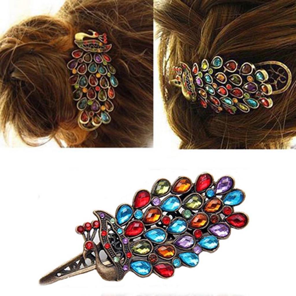 Damen Vintage Kristall Pfau Barrette Haarklammer Haarnadel Kopfschmuck