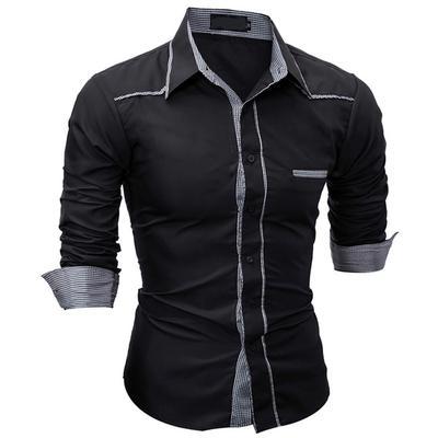 af524ab6007a35 2017, moda rozmiar męska koszula w kratę szwy długie rękawy koszula  dorywczo długi lapel shirt