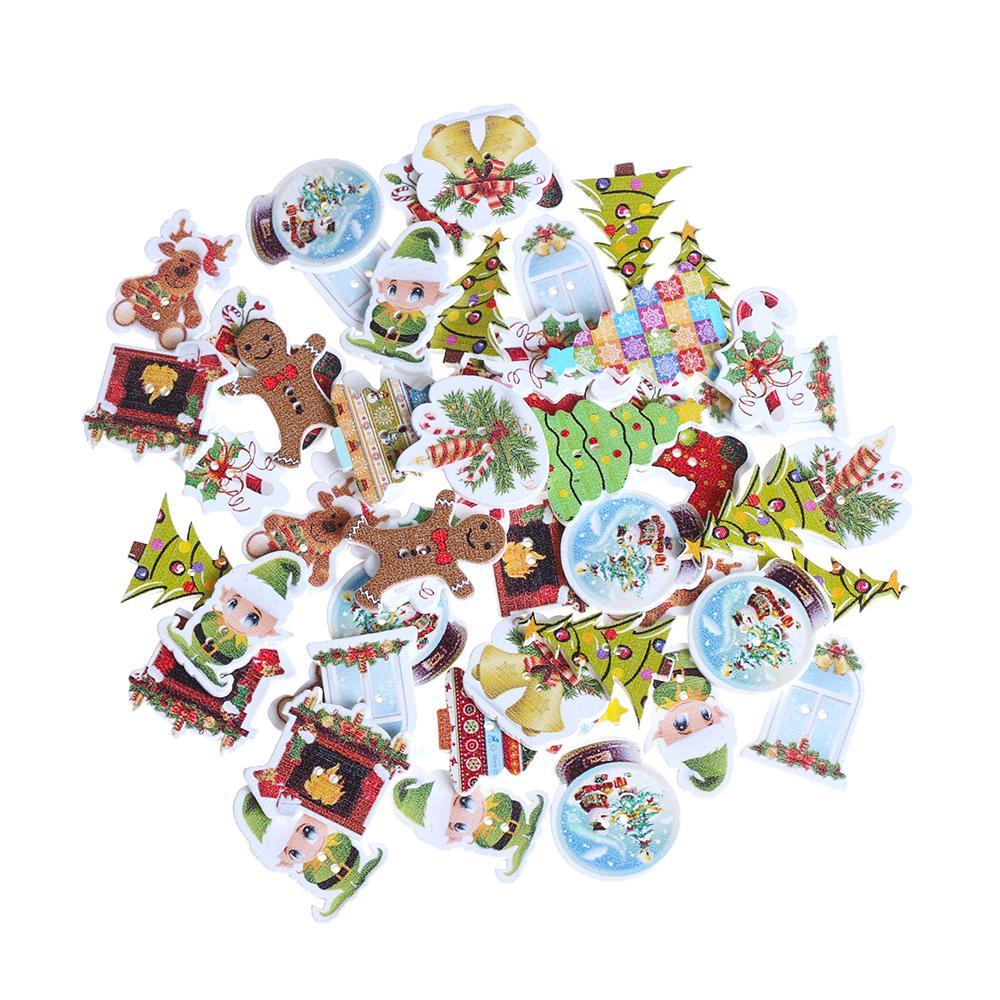 20 Botones de madera pintada de Santa Papá Noel 2 Agujeros Craft Costura Blanco