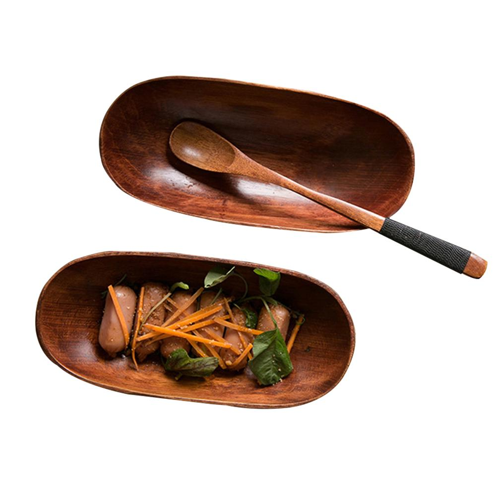 Wooden Food Boats Compostable Serving Trays Disposable Plates for Snacks Nibbles