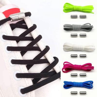 1Pair Kids and Adult Metal Capsule Button No Tie Shoe Laces Elastic Shoelaces Sneakers Shoestrings