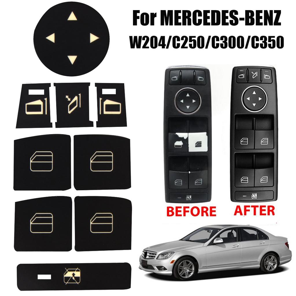 Car Button Window Decals Stickers For Mercedes Benz W204 C250 C300 Decorations