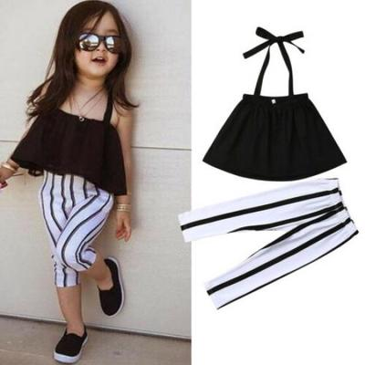 Toddler Kid Baby Girl Stripe Sling Tops Shorts Pants 2PCS Outfits Clothes Summer