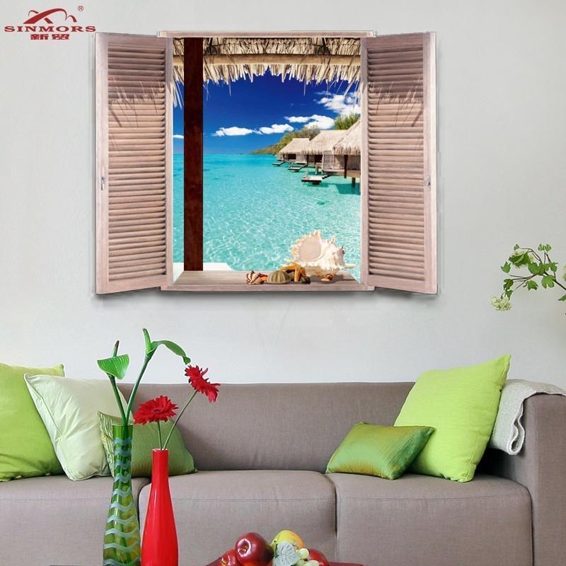 Tropischen Malediven Strand Meer Hütten Wasser 3D Effekt Fenster ...