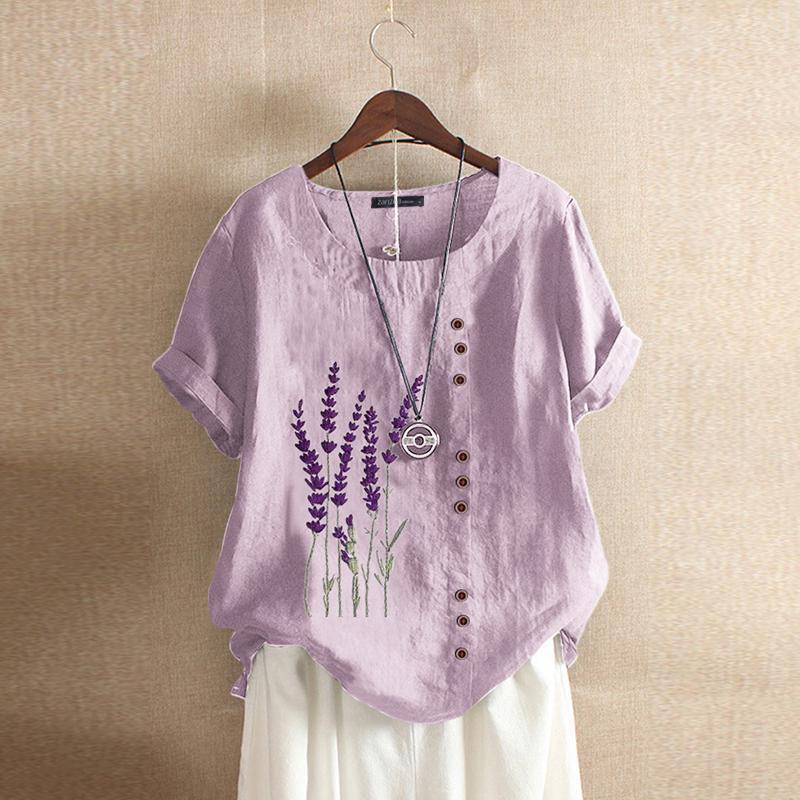 ЗАНЗЕА S-5XL Хлопок льняная блузка женщин Летняя печать O-шея Короткие рукава футболка Плюс Размер Pullover Tee Tops – купить по низким ценам в интернет-магазине Joom