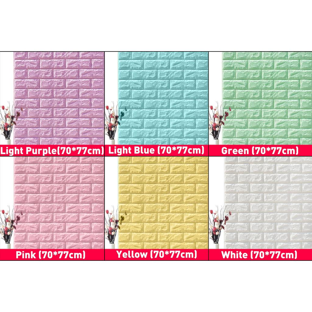 Self-adhesive 3D Foam Tile Brick Wall Sticker 10pcs Waterproof Background Decals