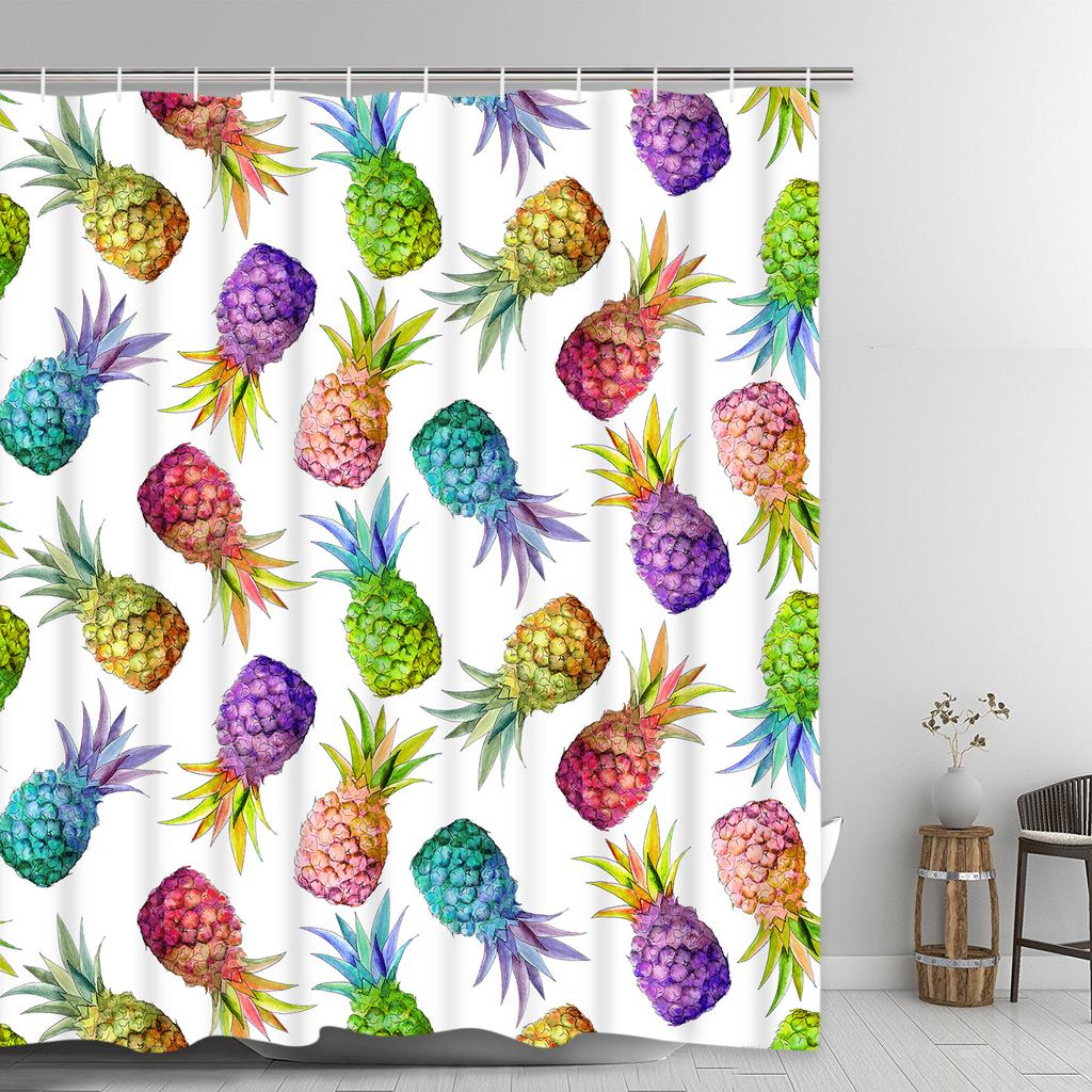 Colorful Pineapple Shower Curtains With 12 Hooks Waterproof Polyester Bath Fruit Curtain Room Decor