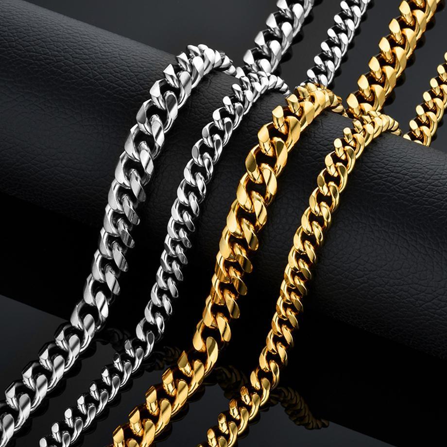 Хип-хоп Мужчины Толстые Серебряные цепи шеи для мужчин нержавеющей стали Curb кубинский ссылка Цепь Ожерелья Мужчины фото