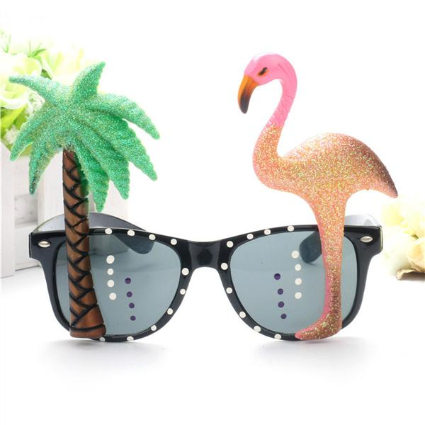 Hawaiian Flamingo Sunglasses Luau Fancy Dress Party Black Beach party fun