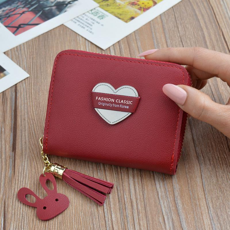 Love embroidered line lychee Trifold Card Holder Purse women/'s wallet light pink