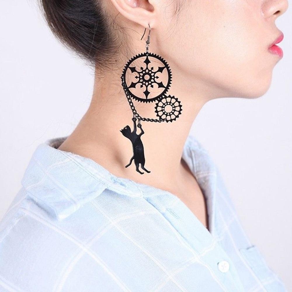 1 Paire Femmes Steampunk Angel Wing Dangle Boucles d/'oreilles clé et serrure pendentif charme