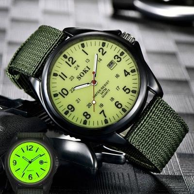 Glow In the Dark Watches Military Mens Clock Quartz Watch Black Dial Date Luxury Sport Wrist Watch