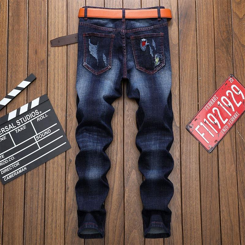 Enzo Mens Skinny Jeans Smart Casual Party Stretch Ripped Denim Pants Trousers