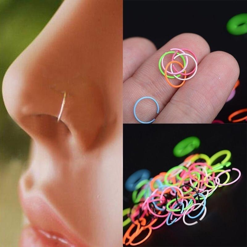 40pcs Surgical Steel Nose Ring Nose Piercing Lip Hoop Ring Stud