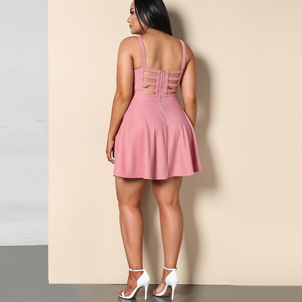 Mujer Plus tamaño vestido sin mangas hueco V sin espalda cuello ...