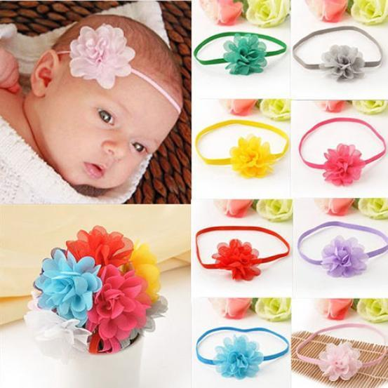 10Pc Cute Kids Baby Infant Toddler Flower Headband Chiffon Hair Band Accessories