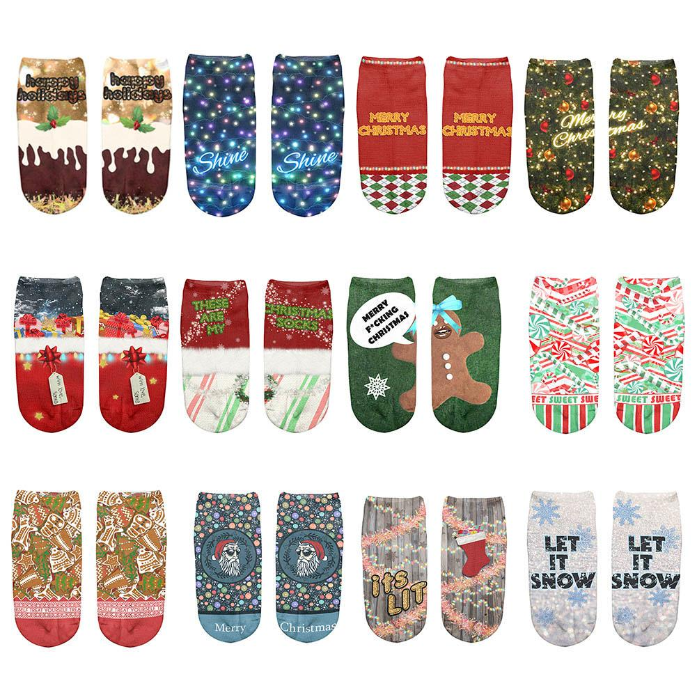 Hot Sale Christmas Pattern Casual 1 Pair Soft Unisex Ankle Sock Boat Sock