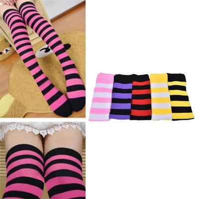 Red And White Stripe Striped Stockings Over The Knee Sock Thigh High Stripey