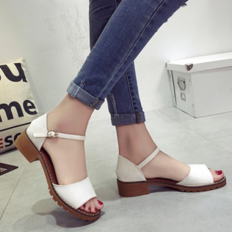 2017夏季新款女凉鞋韩版粗跟搭扣鱼嘴一字扣带女鞋批发外贸