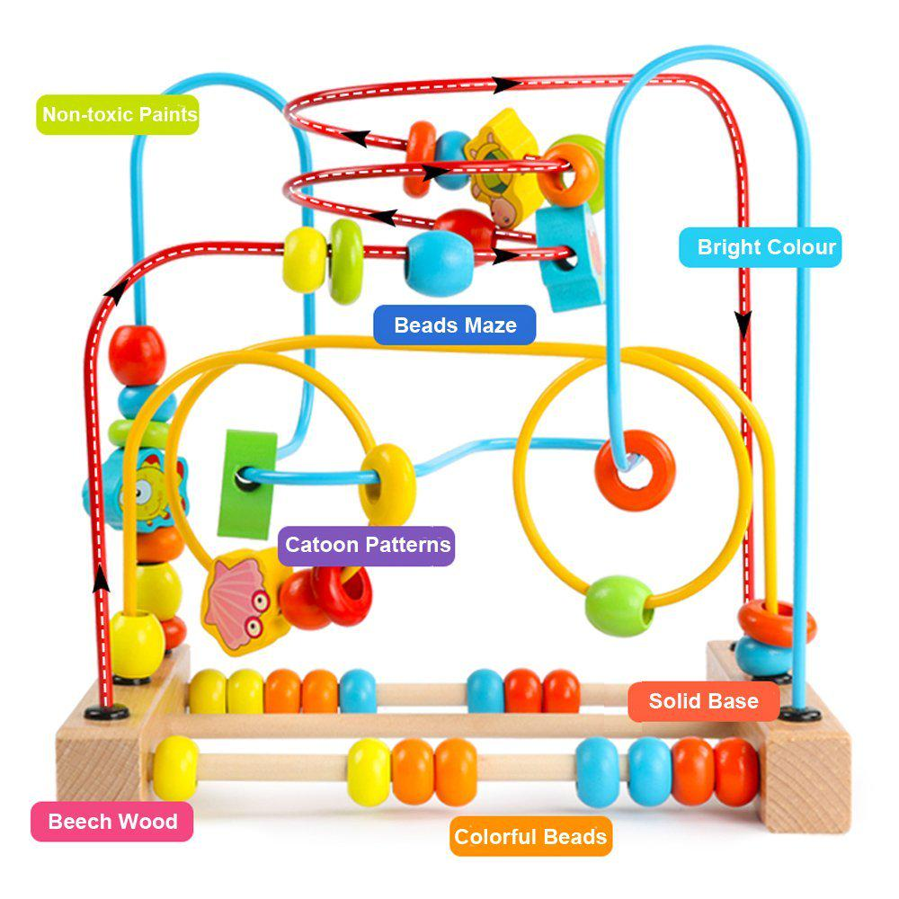 Wooden Baby Toddler Toys First Bead Maze Roller Coaster Educational Circle Gift