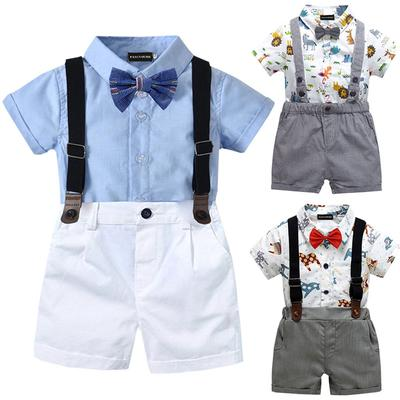 Toddler Kids Baby Boys Clothes Lapel Shirt Tops+Short Pants Outfits Sets Sunsuit