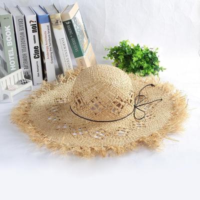 Sombrero de paja Bowknot sombrero Alón plegable playa vacaciones gorras de  verano de las señoras a12cd4cbeb4