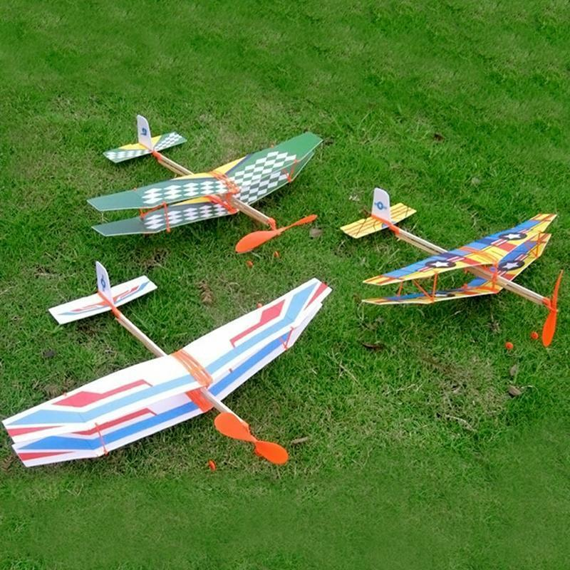 Rubber Airplane Assembly Plane Model Powered Flying Glider DIY Foam Aircraft