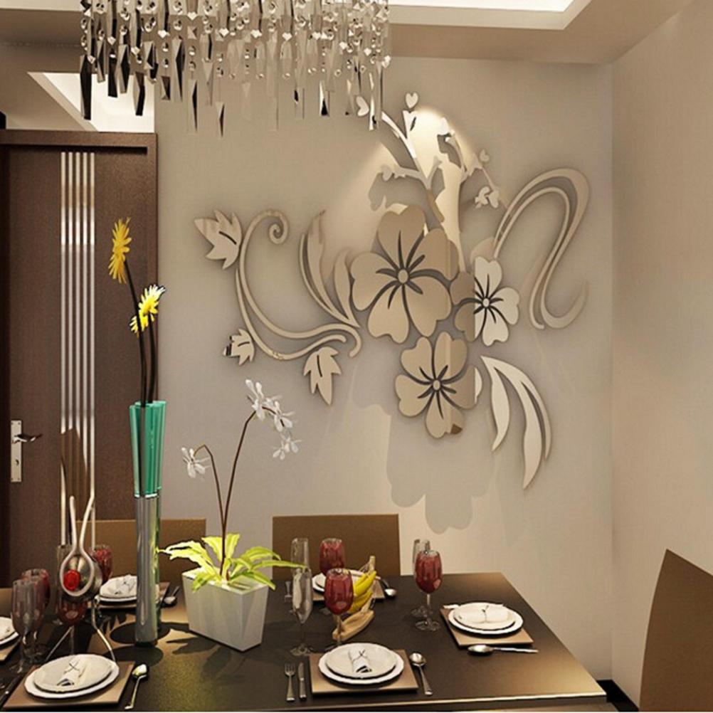 3D Spiegel Blume Aufkleber Wandtattoo DIY abnehmbare Kunst