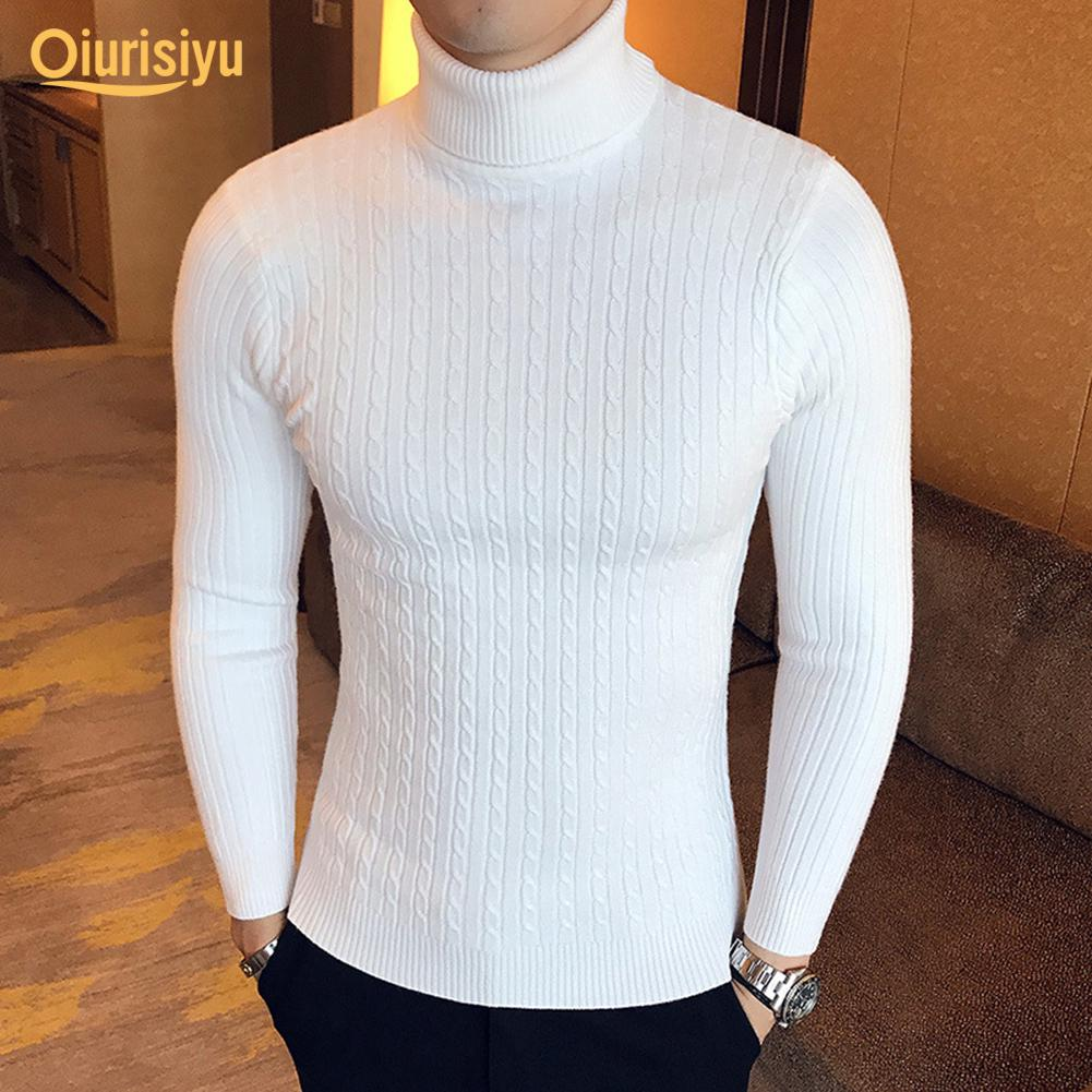 Mens Pullover Long Sleeve Slim Knit Turtleneck Sweater Warm Cashmere Blend Tops