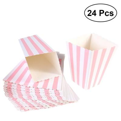 40pcs Popcorn Boxes Rugby Stripe Pattern Decorative Dinnerware For Fascinating Decorative Popcorn Boxes
