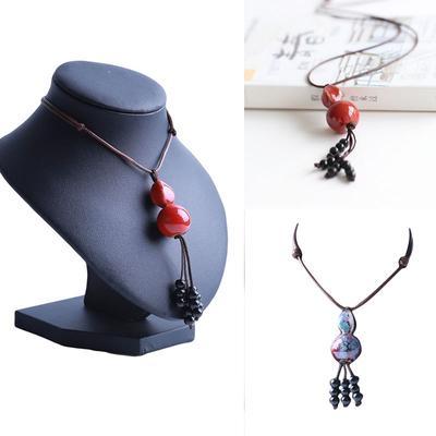 Ceramic sweater chain retro leaf jewelry necklace female wild literary ornaments