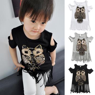 b3cc9e909ca3d Cute Sequins Owl Kids Girl Summer T-Shirt Cold Shoulder Short Sleeve Tassel  Top